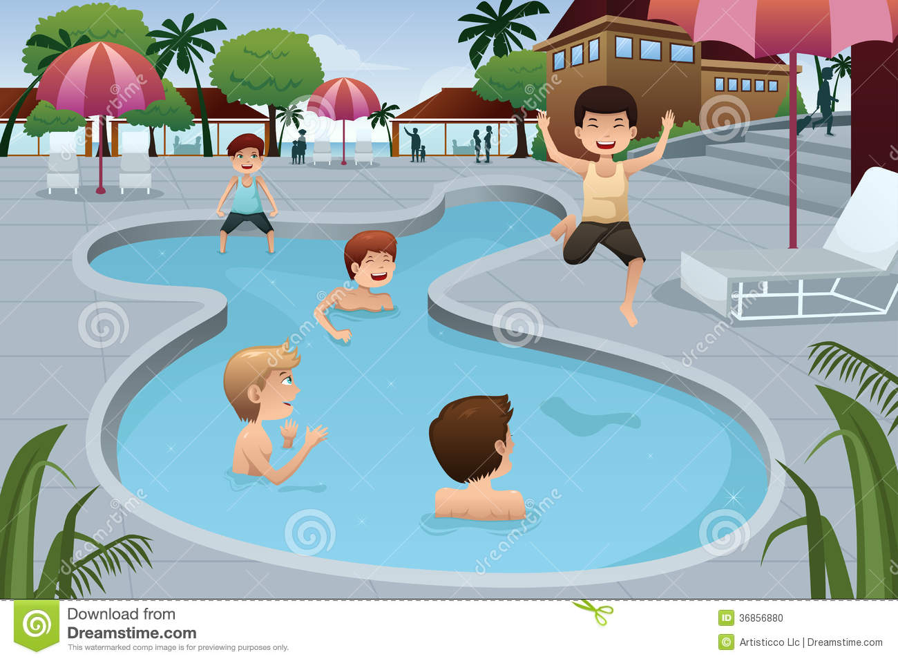 Kids Playing In An Outdoor Swimming Pool Stock Photo ...