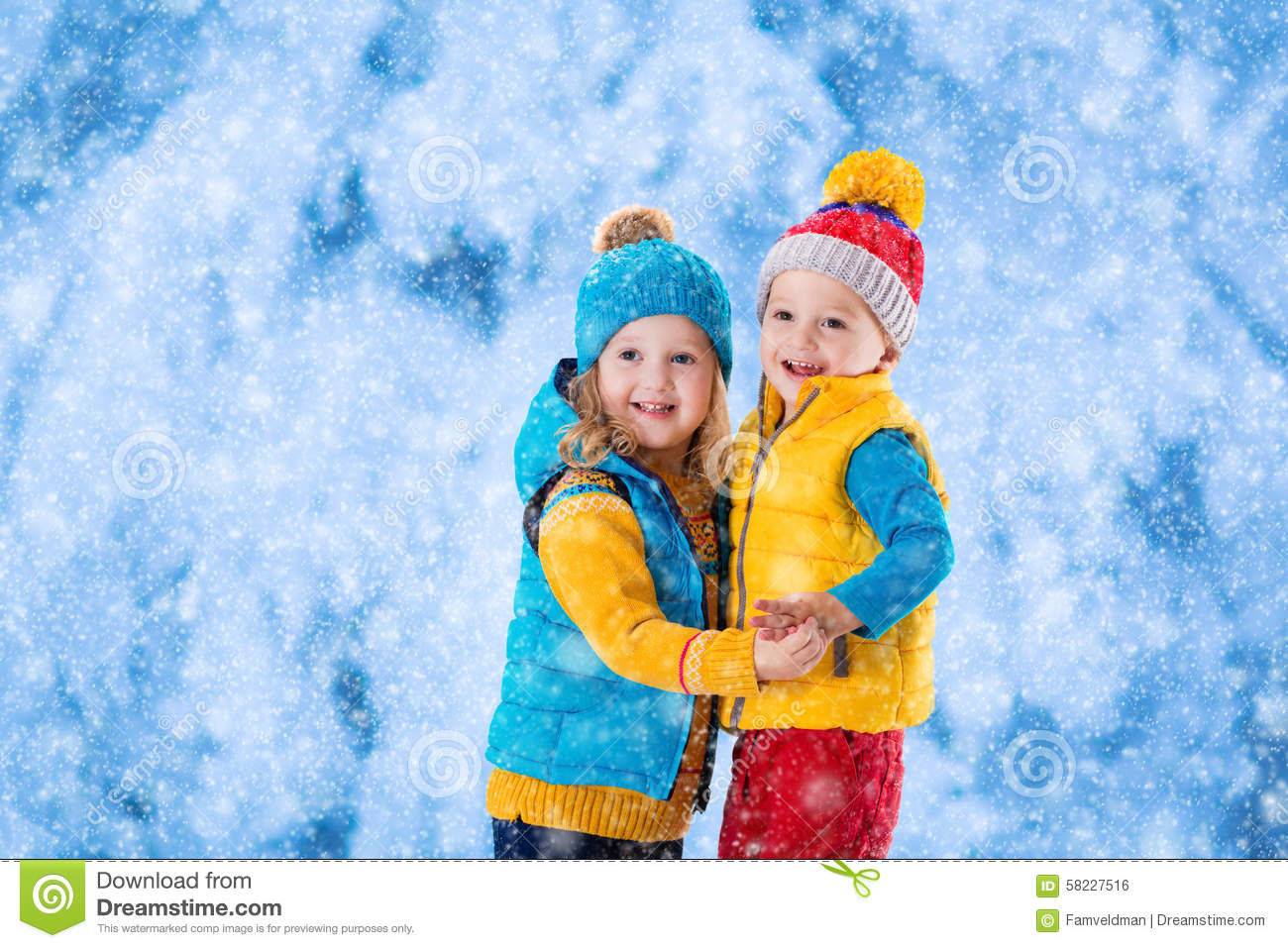 Kids Playing Outdoors In Winter Stock Photo Image 58227516