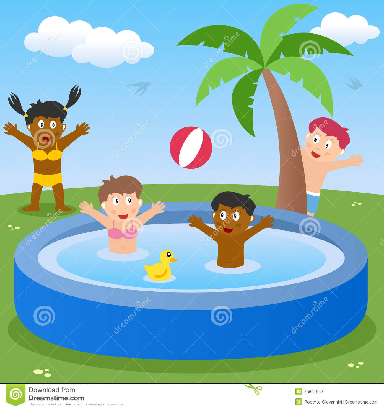 Kids Playing In Paddling Pool Royalty Free Stock