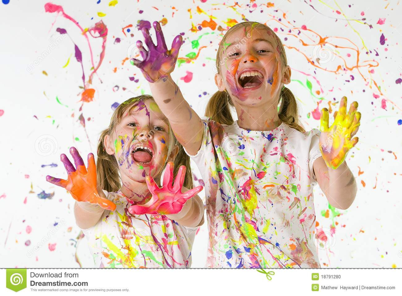 Kids playing in paint