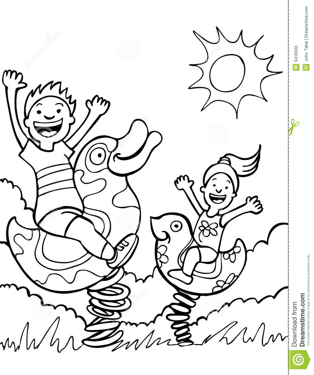 Kids Playing On Park Rides - Black And White Stock Vector ...