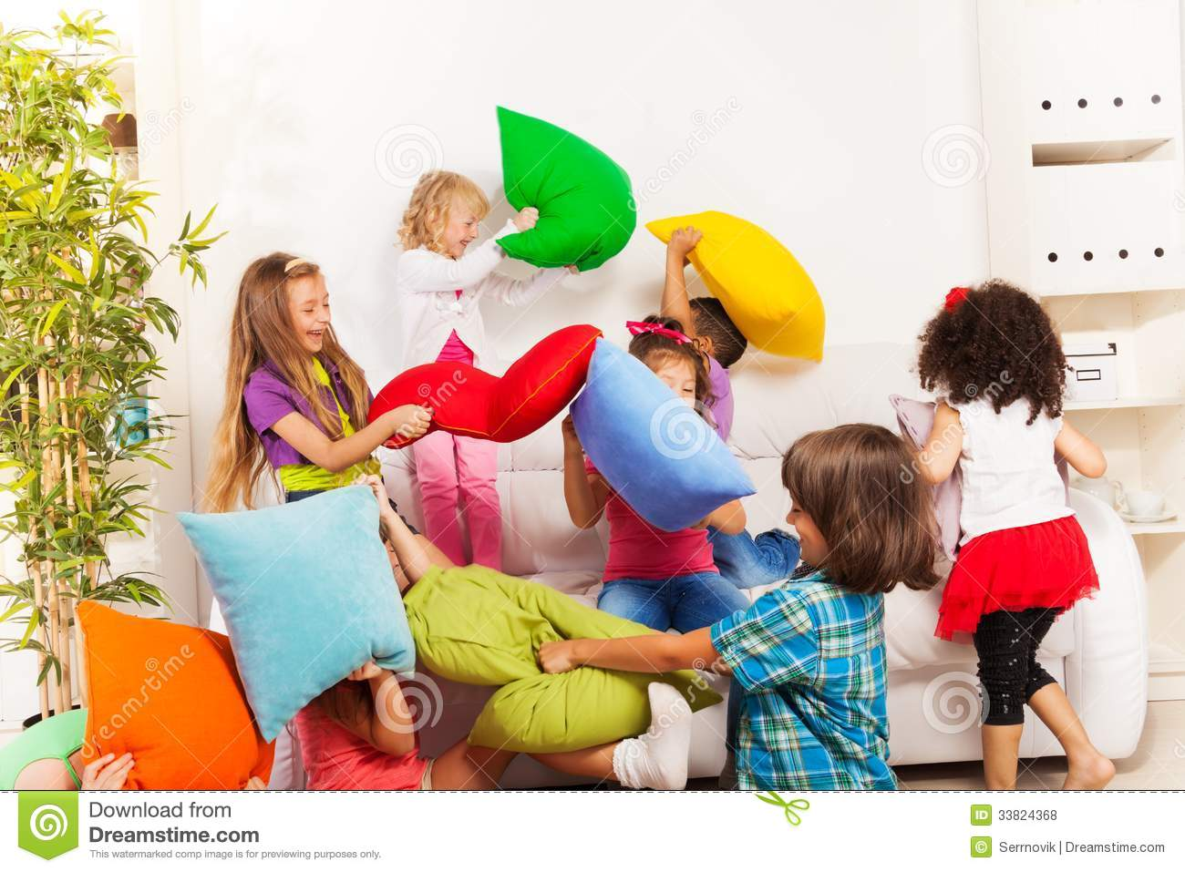 Kids Playing Pillow Fight Royalty Free Stock Photos ...