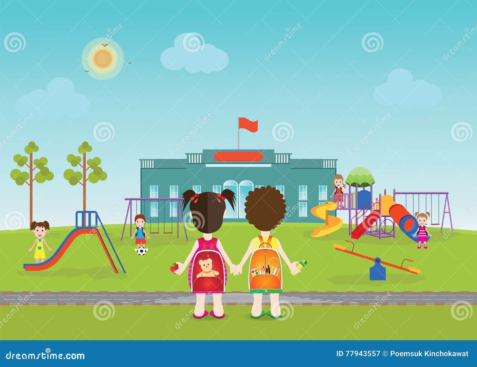 Kids Playing On Swings At School
