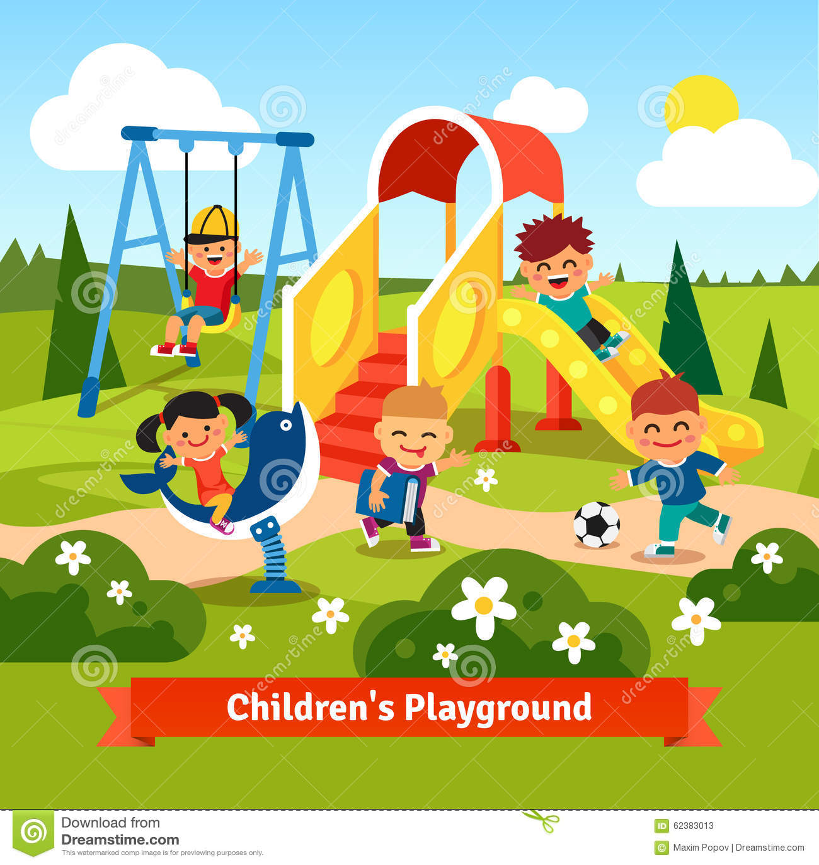 Kids Playing On Playground Swinging And Sliding Stock