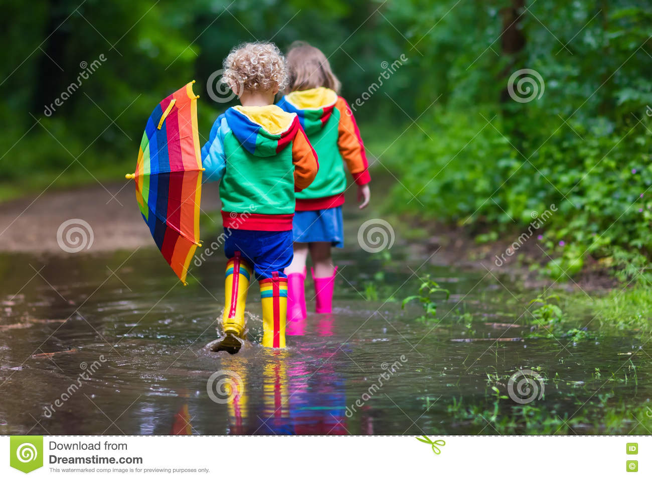Kids Playing In The Rain Stock Photo Image Of Pouring