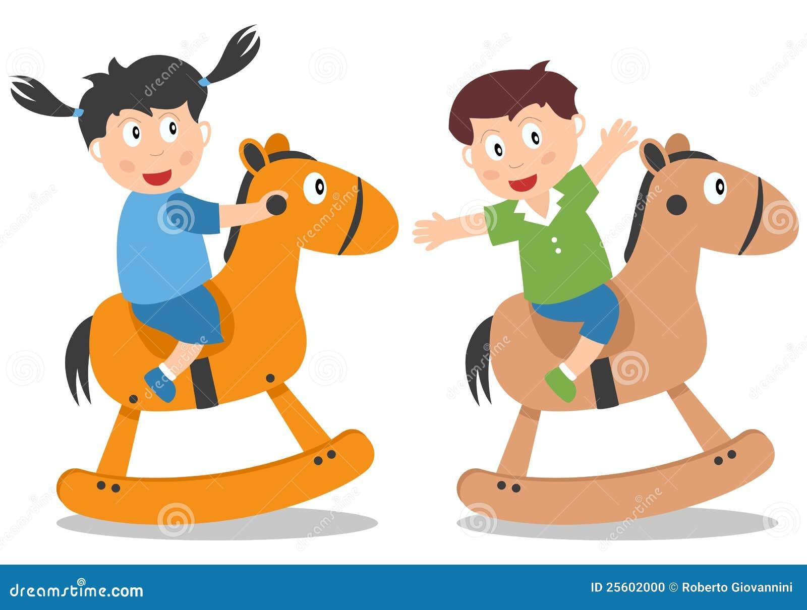 Kids Playing With Rocking Horse Illustration 25602000 Megapixl