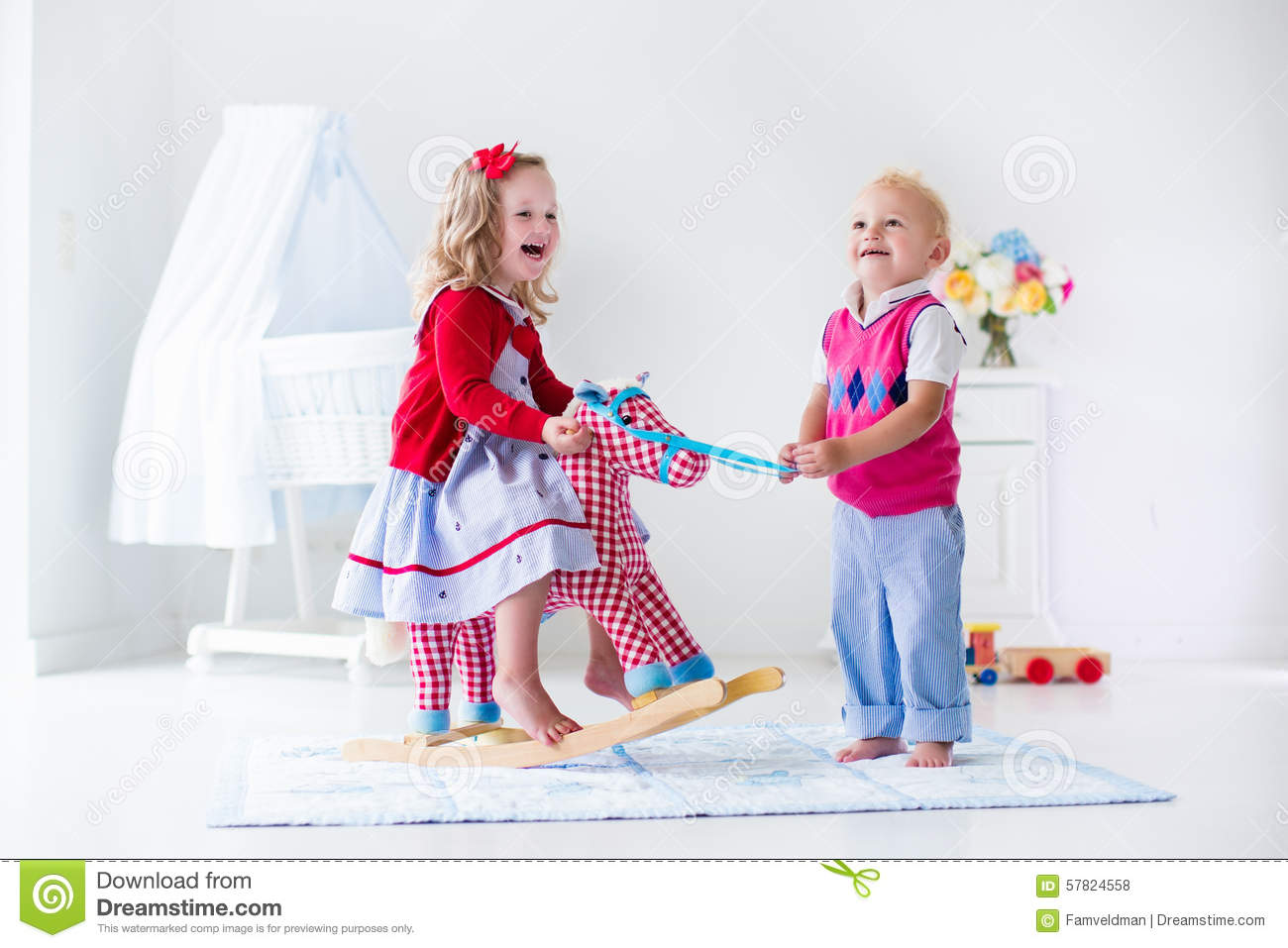 Day Care Toys For Toddler : Kids playing with rocking horse stock photo image