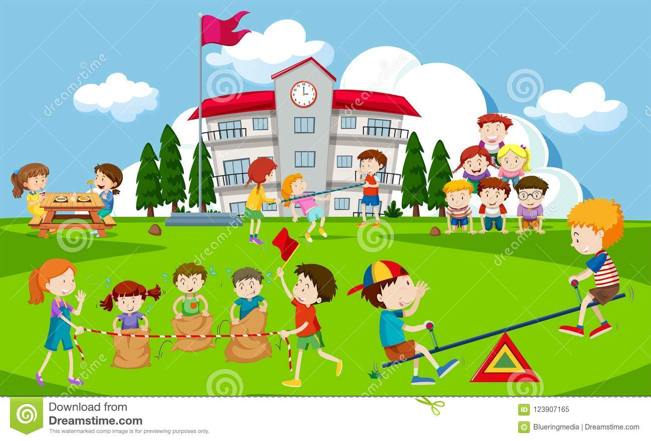 kids playing at school playground stock vector - illustration of