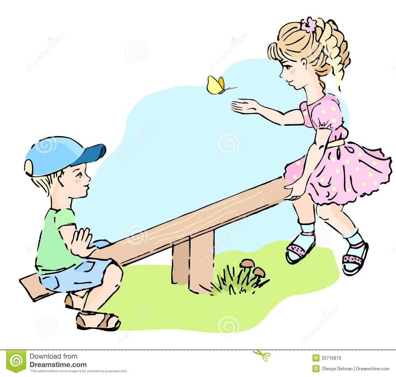 Kids playing at the see saw royalty free stock images for Seesaw plans designs