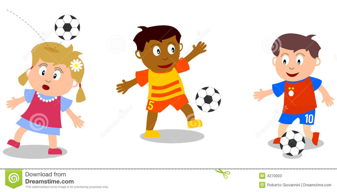 Three kids (isolated on white background) playing soccer. You can find ...