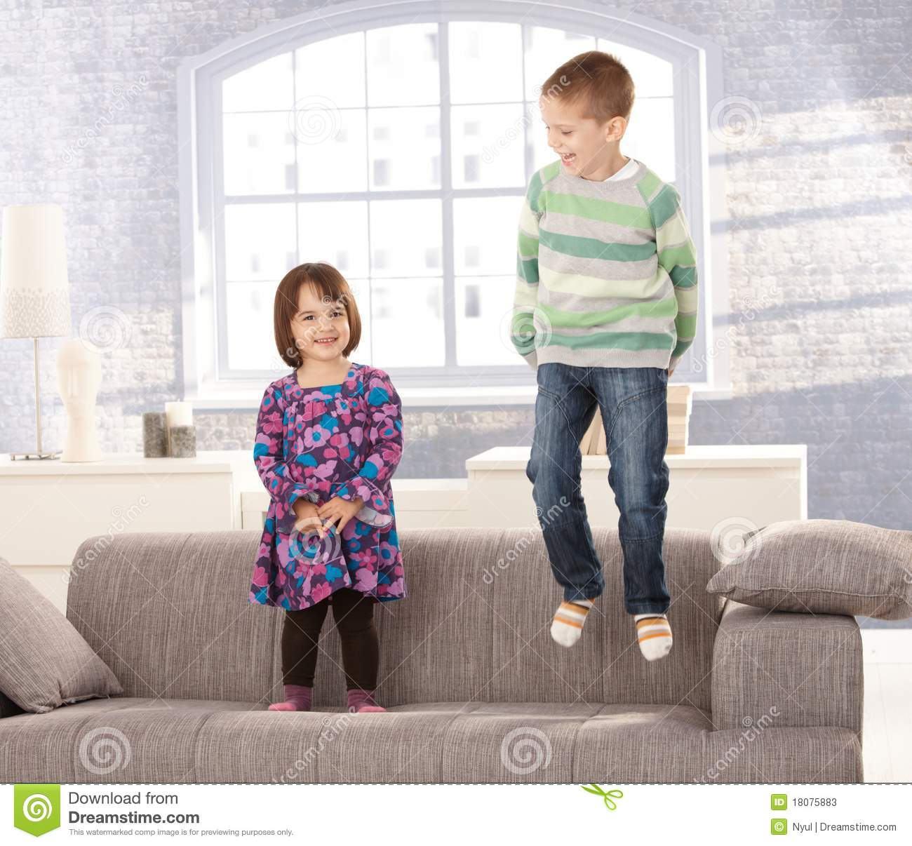 120 Kids Jumping Sofa Photos Free Royalty Free Stock Photos From Dreamstime