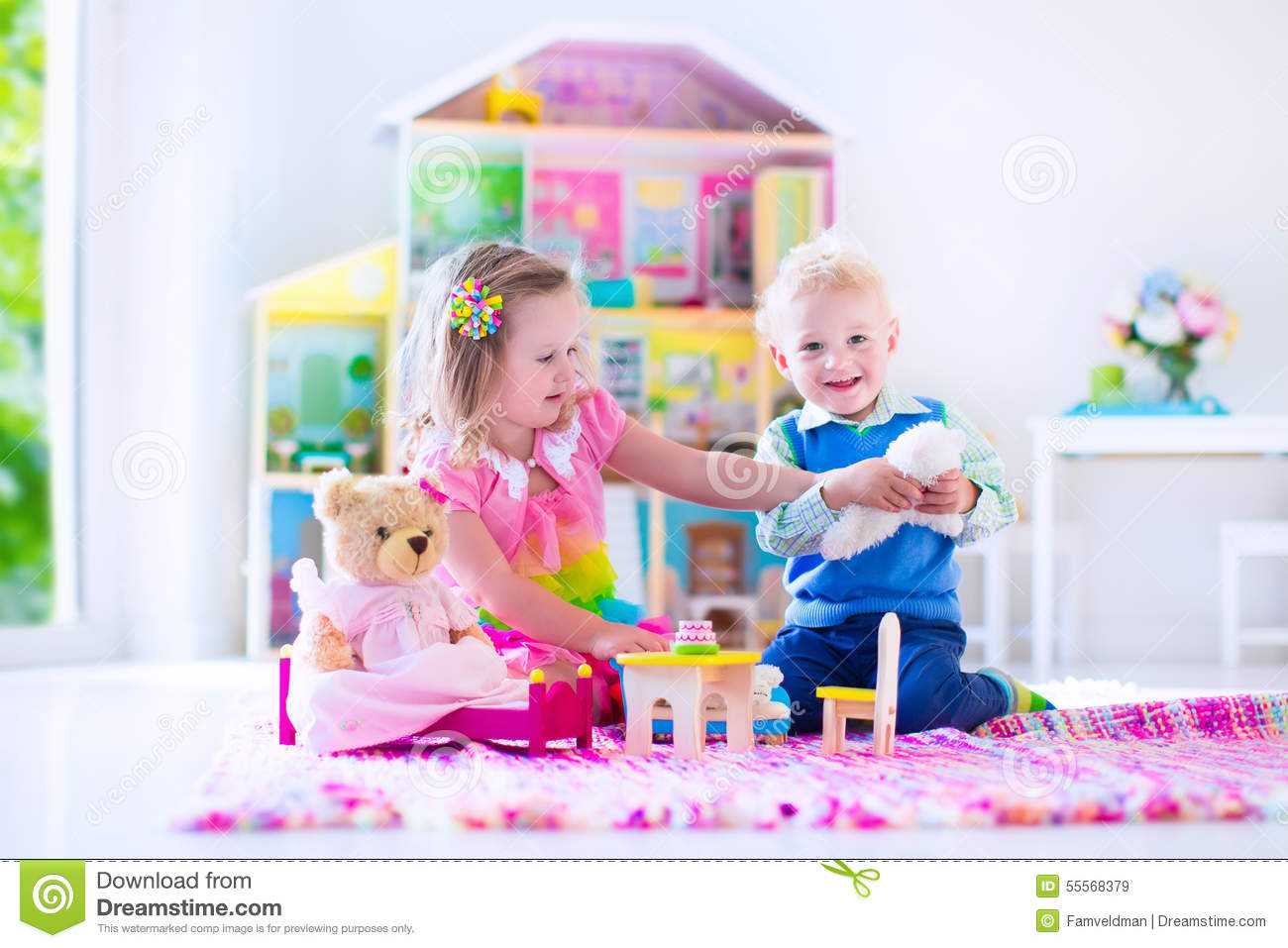 Playing In Tiy House Royalty Free Stock Photo