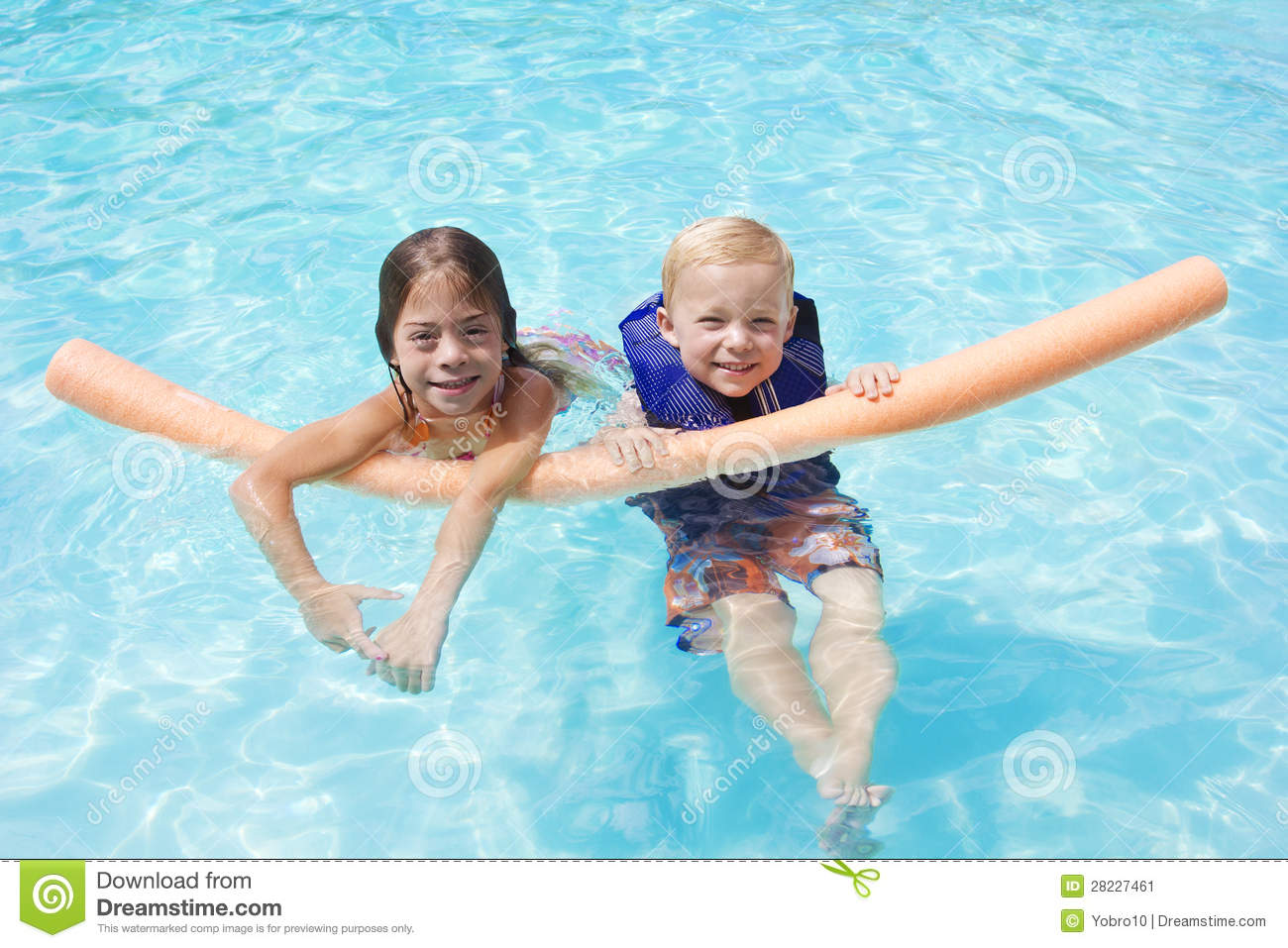 Kids Playing In The Swimming Pool Together Stock Image ...