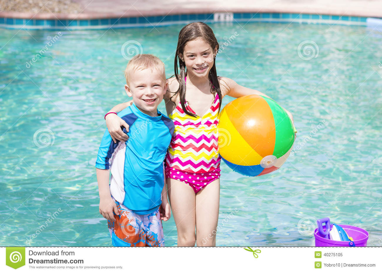 Kids Playing At The Swimming Pool Stock Photo Image 40275105