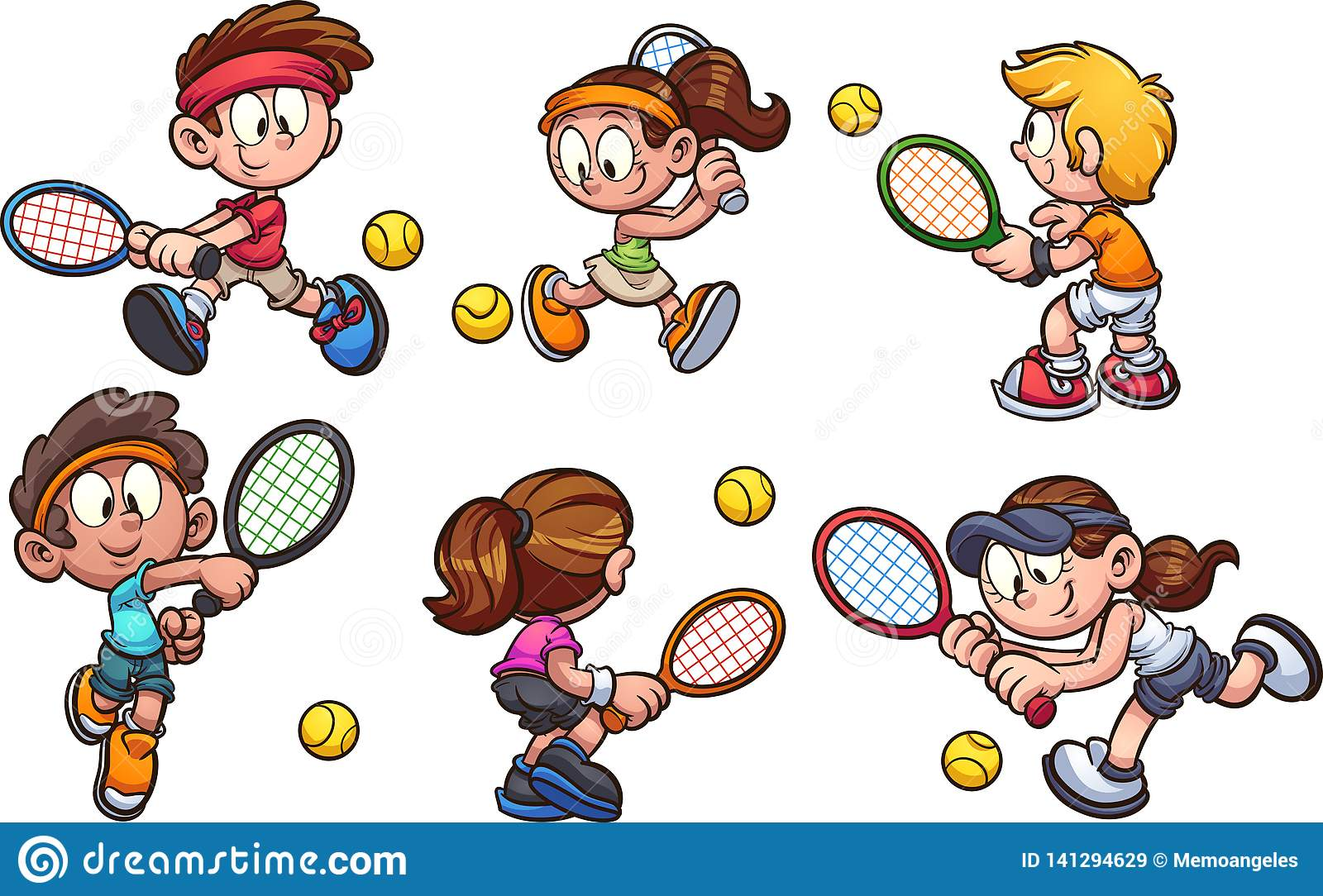 A Group Of Cartoon Kids Playing Tennis Stock Vector - Illustration ...