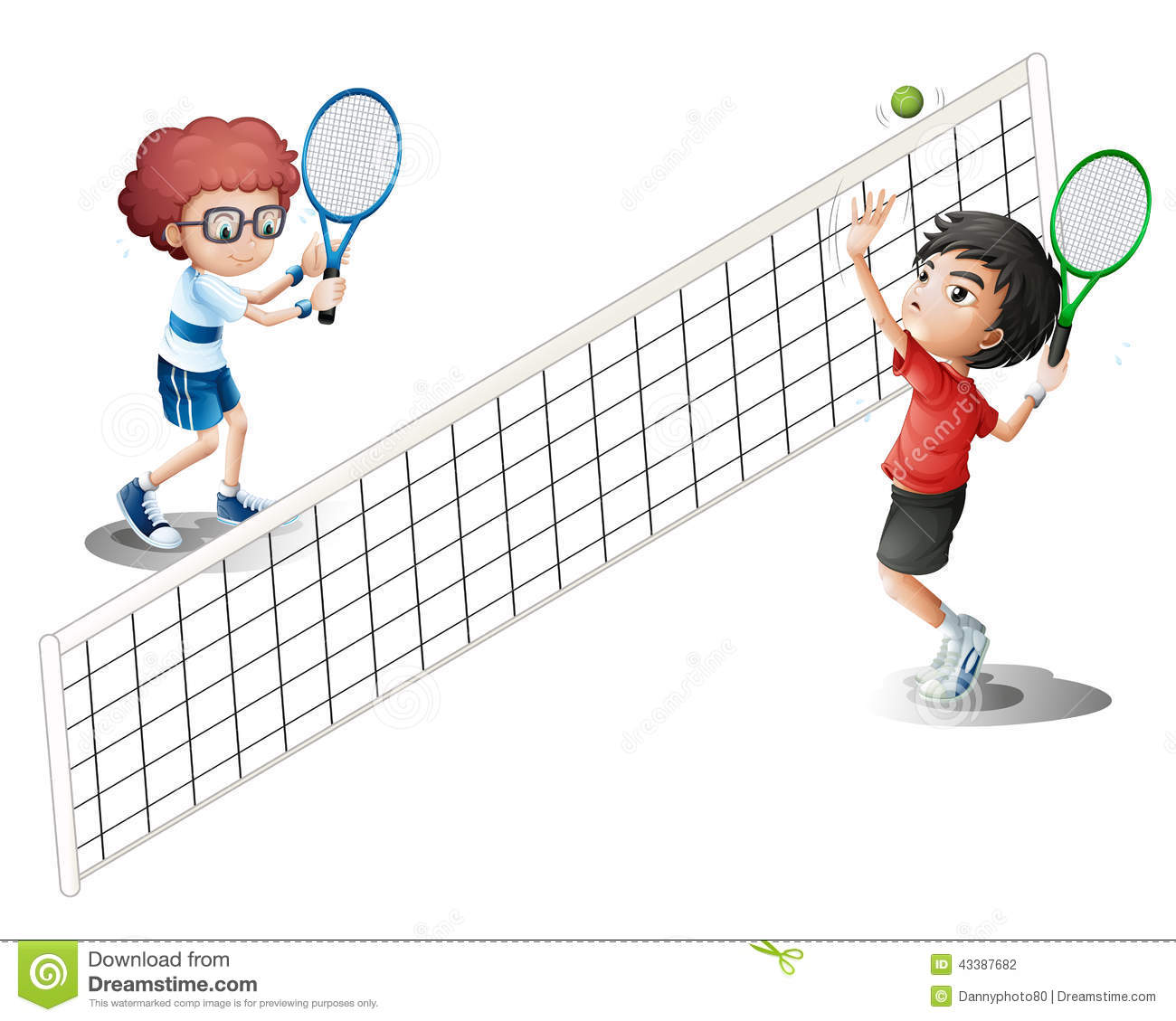 Kids playing tennis stock vector. Illustration of racket ...