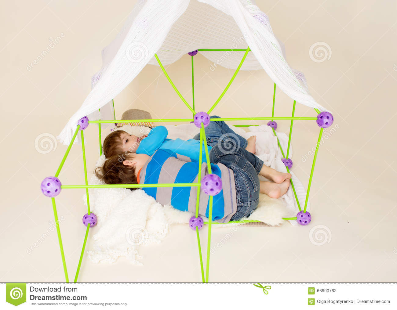 Kids children playing with a tent or fort made out of blankets imagination pretend play concept & Kids Playing With Tent Pretend Fort Stock Photo - Image of tent ...