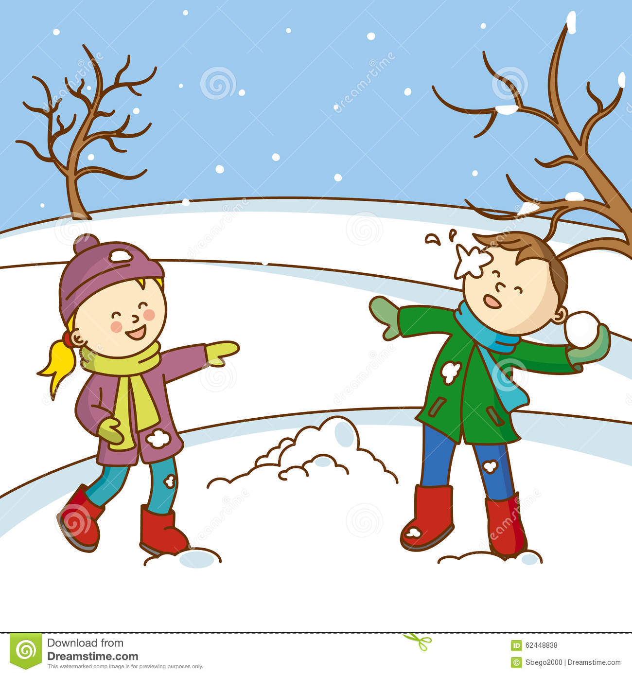 Kids Playing To Throw Snowballs Stock Vector