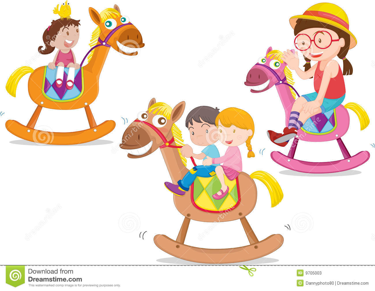 Kids Playing Toy Horse Stock Vector Illustration Of Colour 9705003