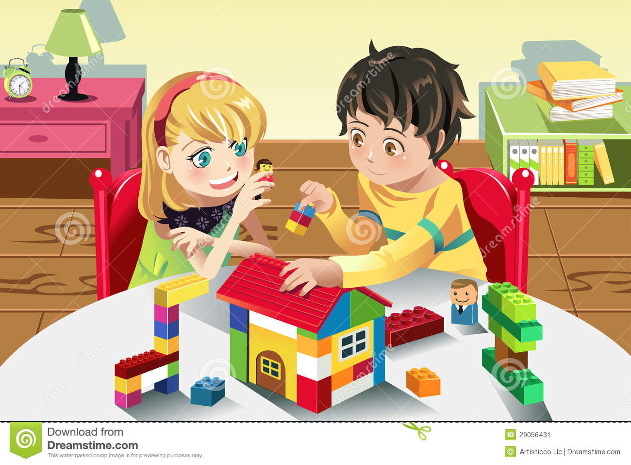 kids playing with toys stock vector illustration of cartoon 29056431. Black Bedroom Furniture Sets. Home Design Ideas