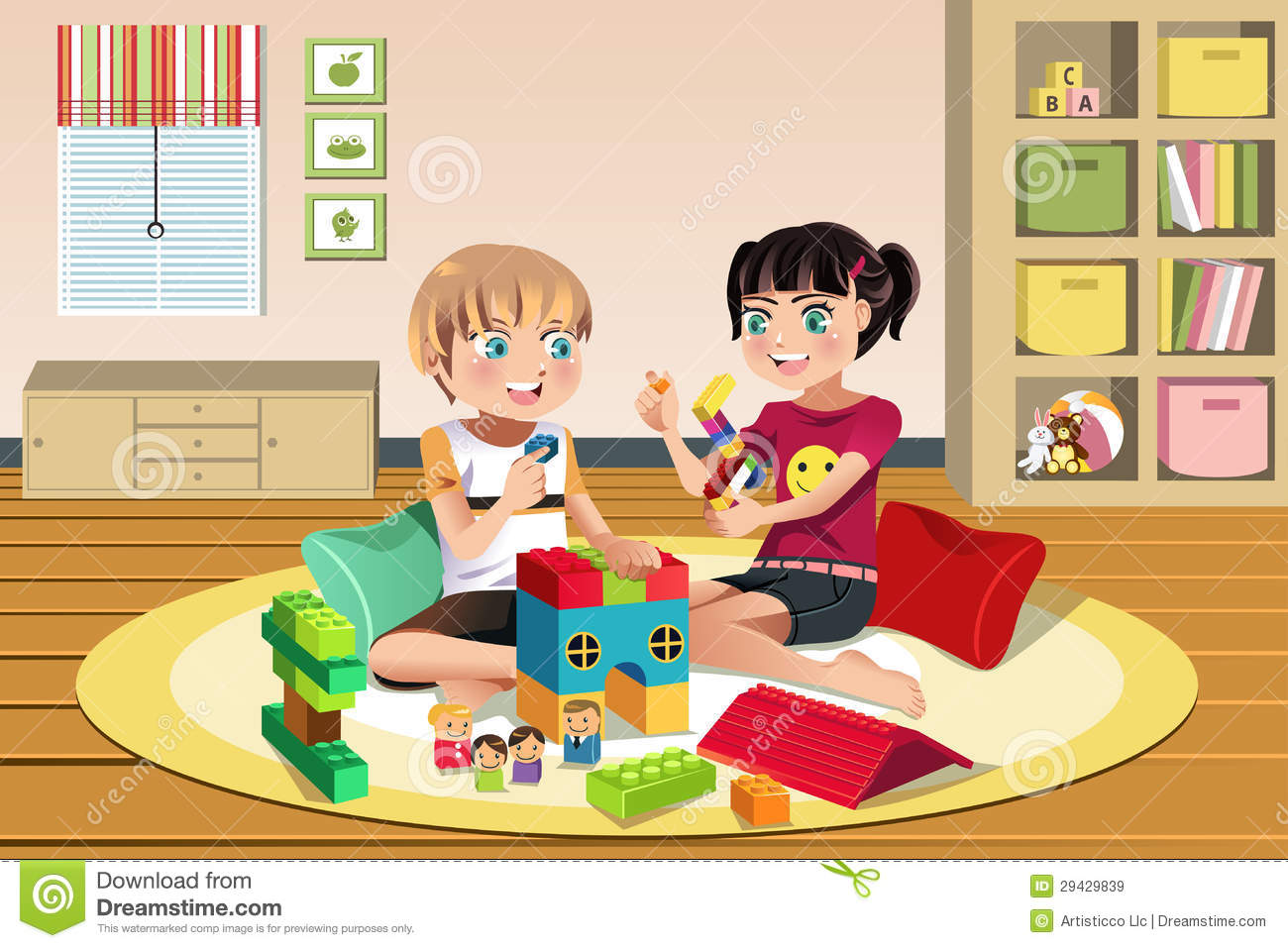 Toys And Games Clip Art : Kids playing toys stock vector illustration of friendship