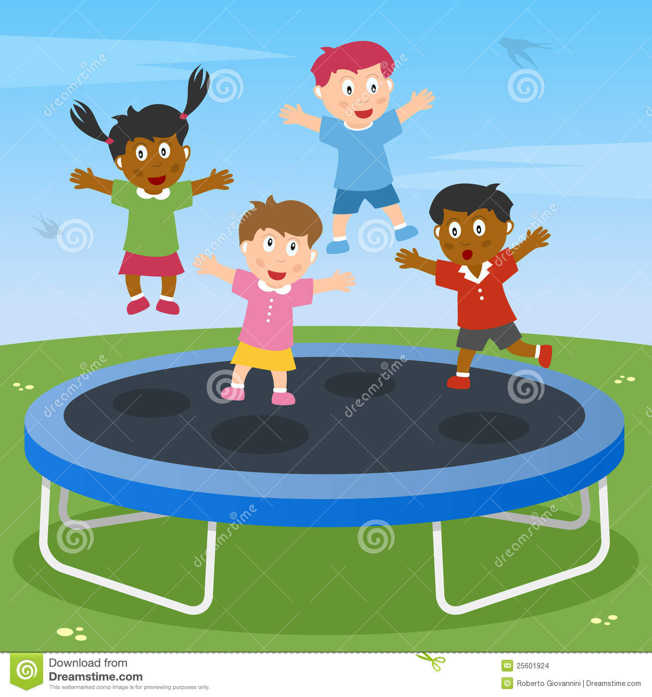 Kids Playing On Trampoline Stock Vector Illustration Of