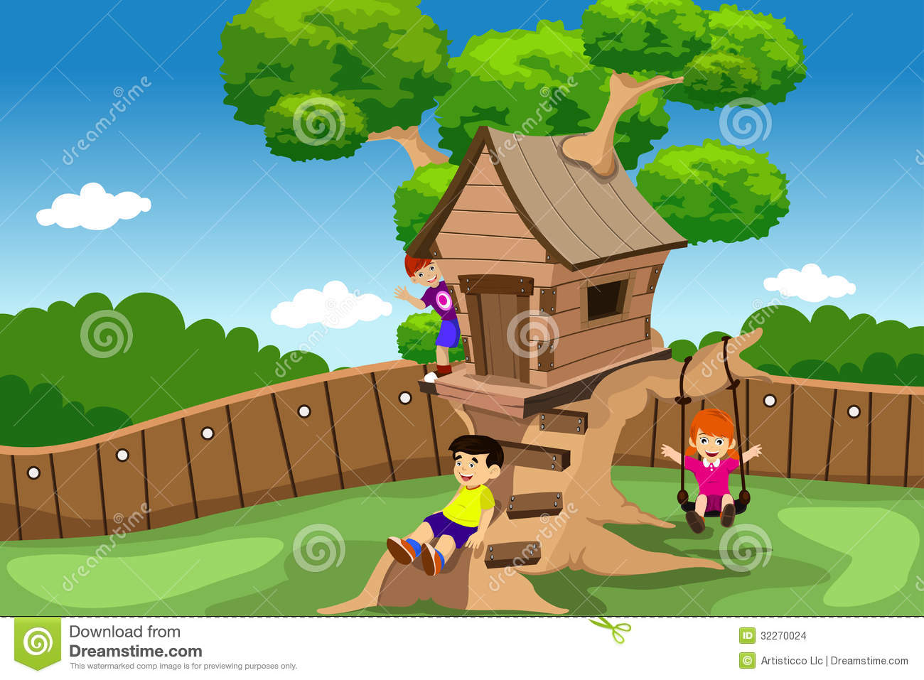 Kids Tree House kids playing in a tree house stock images - image: 32270024