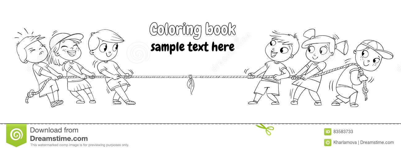 Kids Playing Tug Of War. Coloring Book Stock Vector - Illustration ...