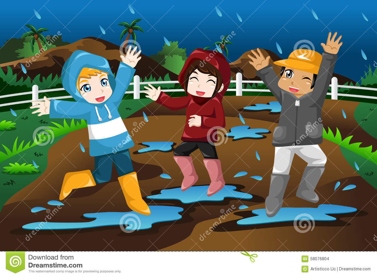 Kids Playing Under The Rain Stock Vector - Illustration of ...
