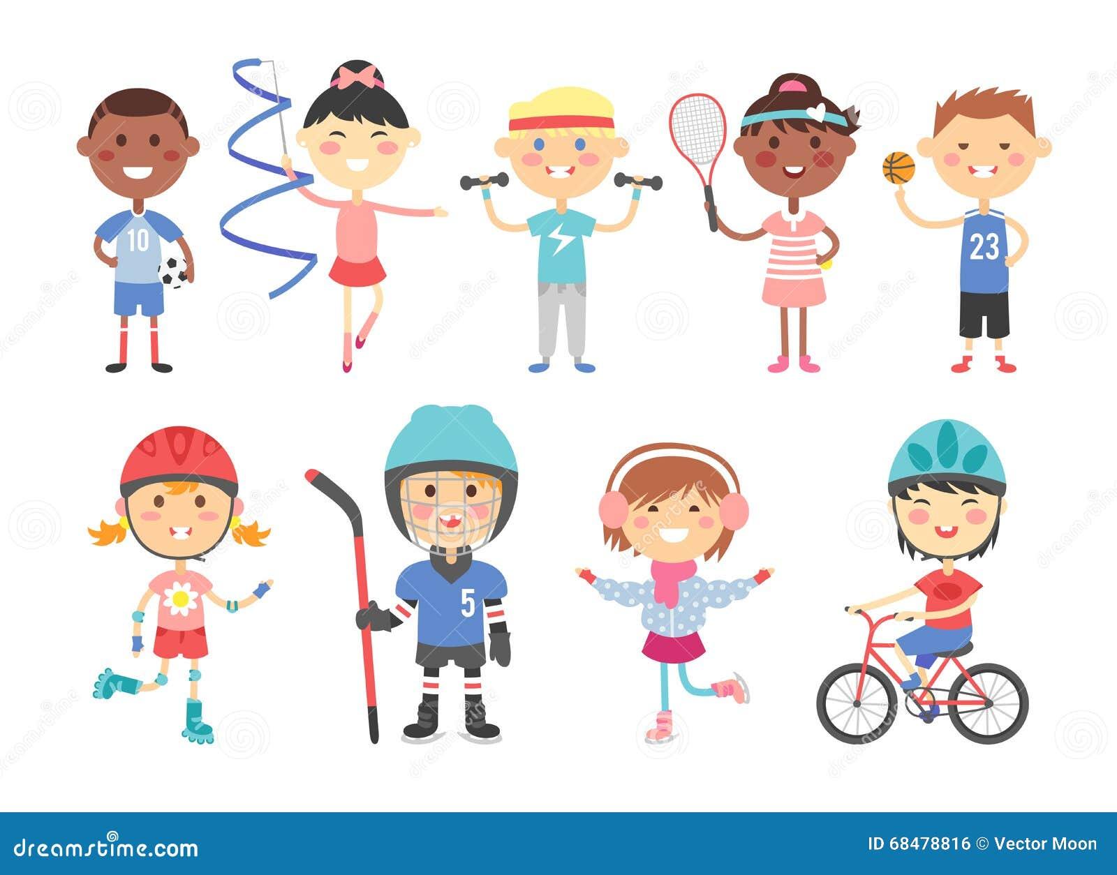 kids sport  boy and girl playing active games vector Baseball Player Clip Art Football Player Clip Art
