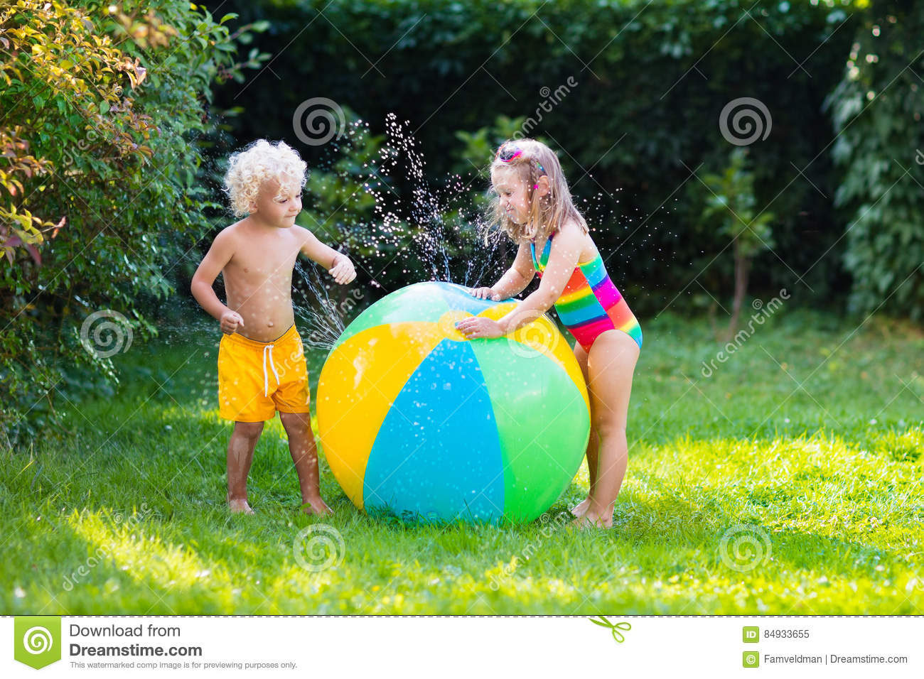 kids play water Kids playing with water ball toy