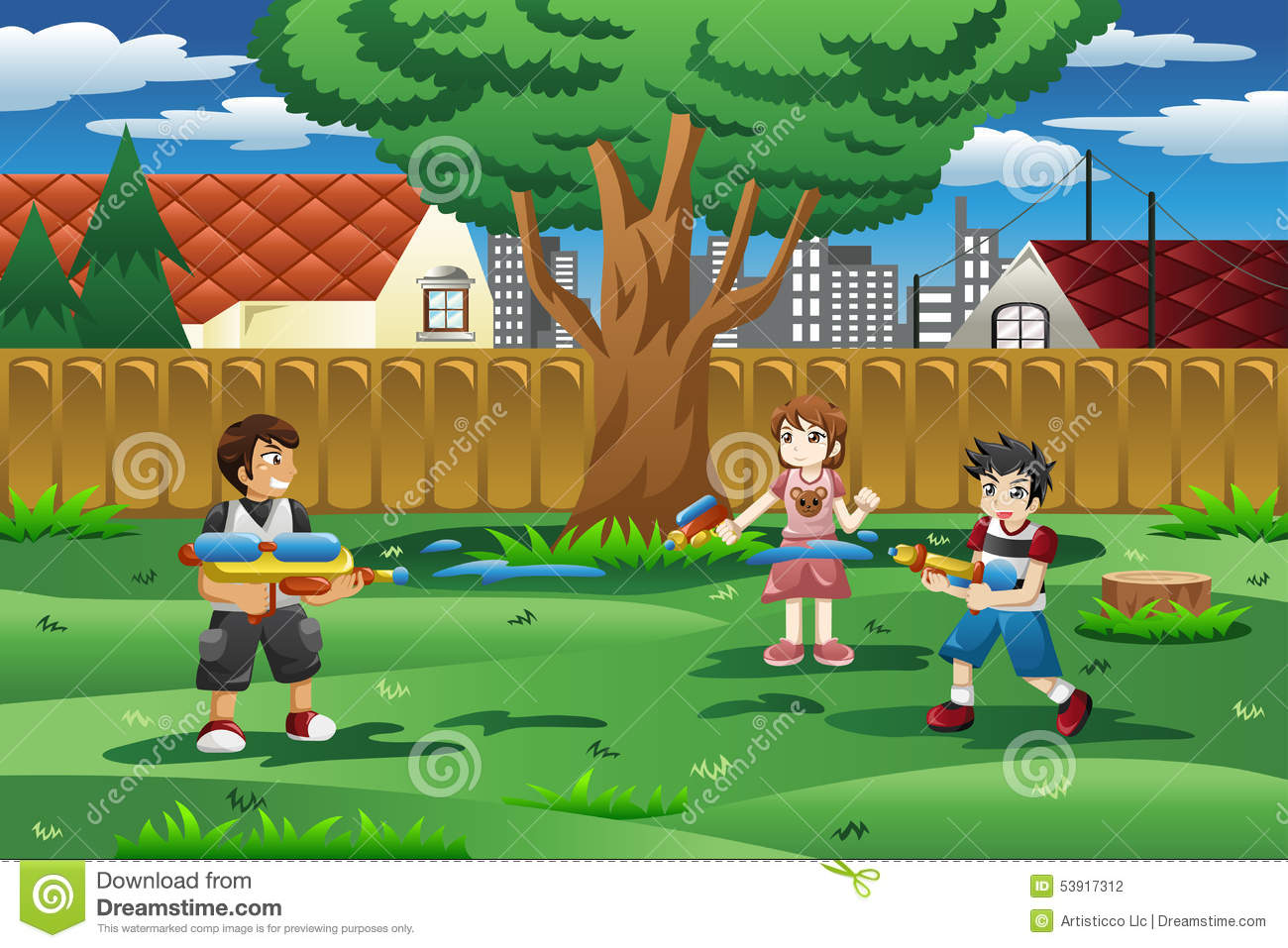 kids playing with water gun in the backyard stock vector image