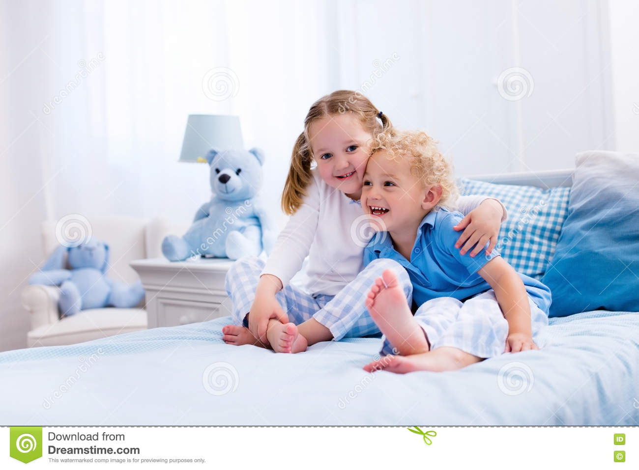 Kids Playing In White Bedroom Stock Photo Image 73608731