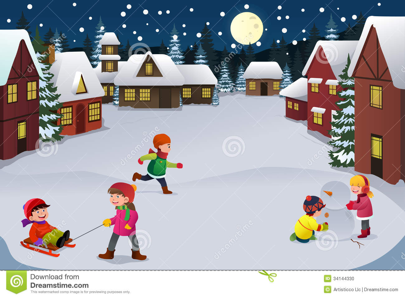 Kids playing in a winter wonderland stock vector for Patinage exterieur