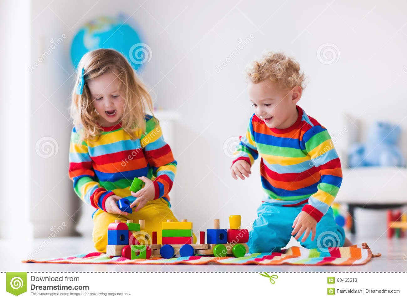 Kids Playing With Wooden Toy Train Stock Photo Image