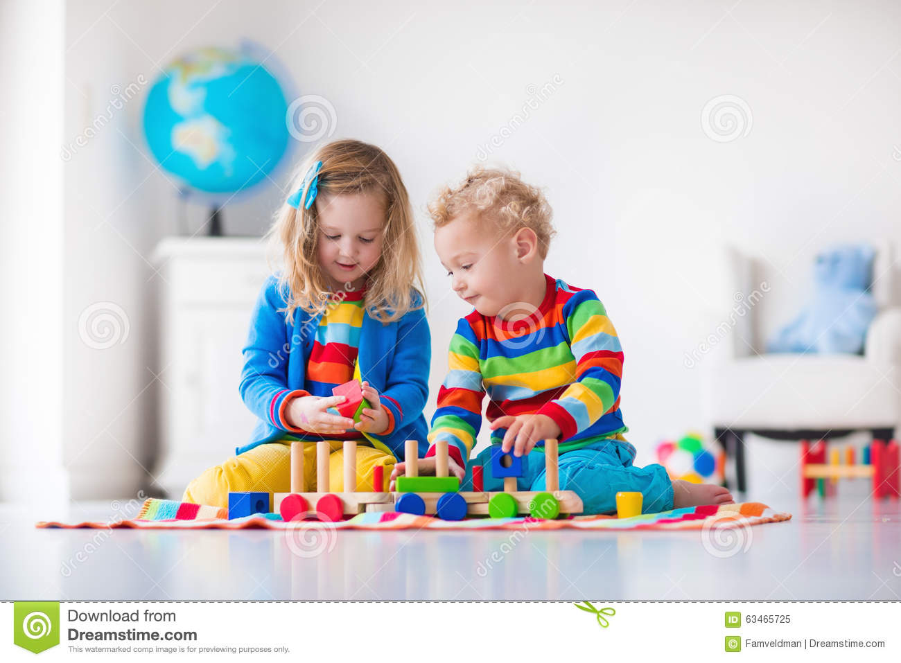 Kids Playing With Wooden Toy Train Stock Photo - Image ...