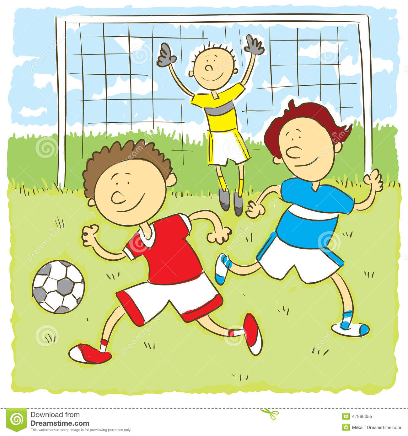 Kids Playng Soccer Stock Vector Illustration Of Boys 47960055