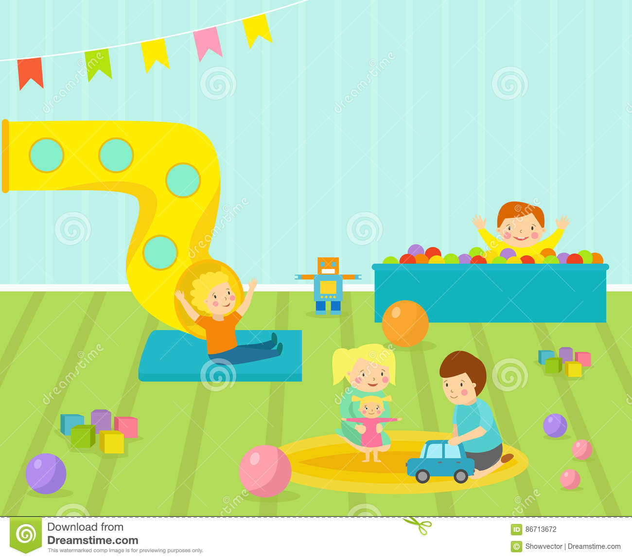 Kids Playroom With Light Furniture Decor Playground And Toys On The Floor Carpet Decorating Flat