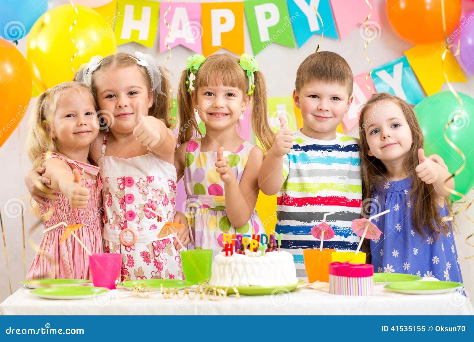 Kids preschoolers celebrate birthday party