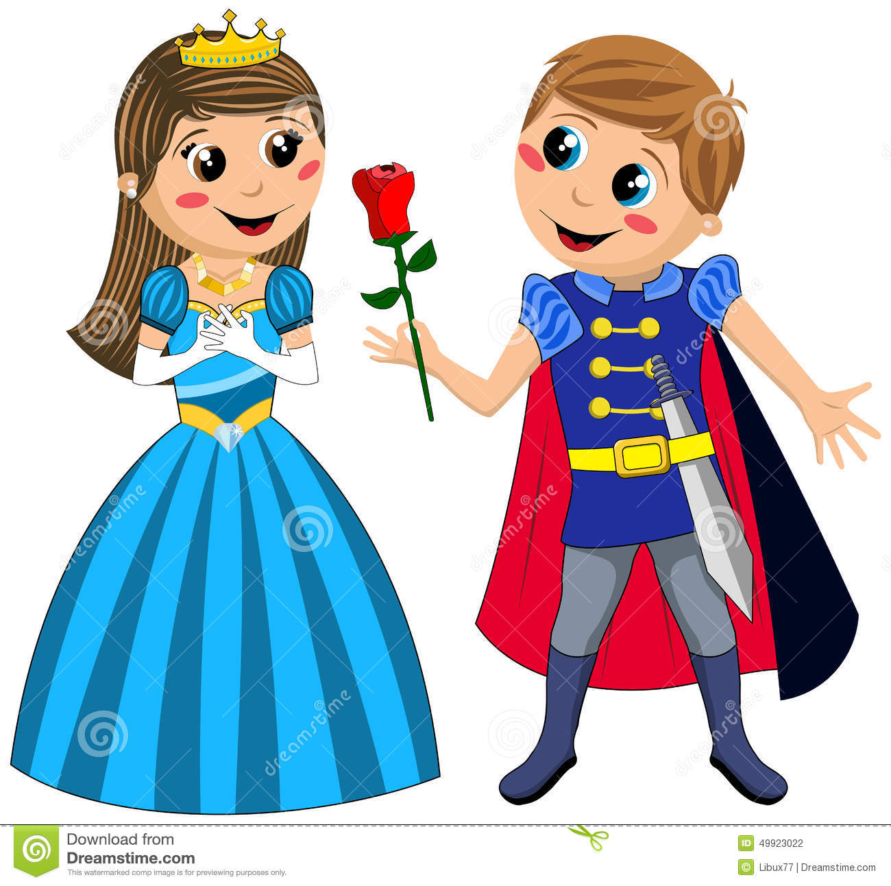 kids prince princess love rose isolated stock vector image 49923022