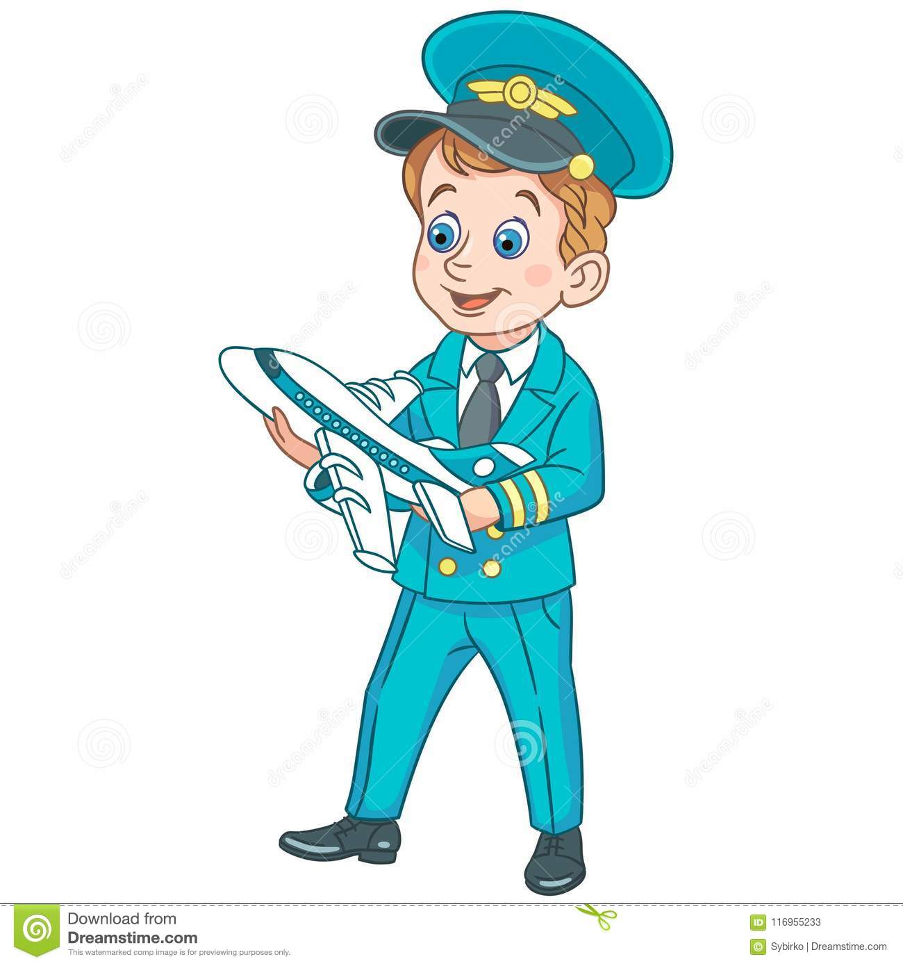Cartoon Airplane Pilot With Toy Plane Stock Vector