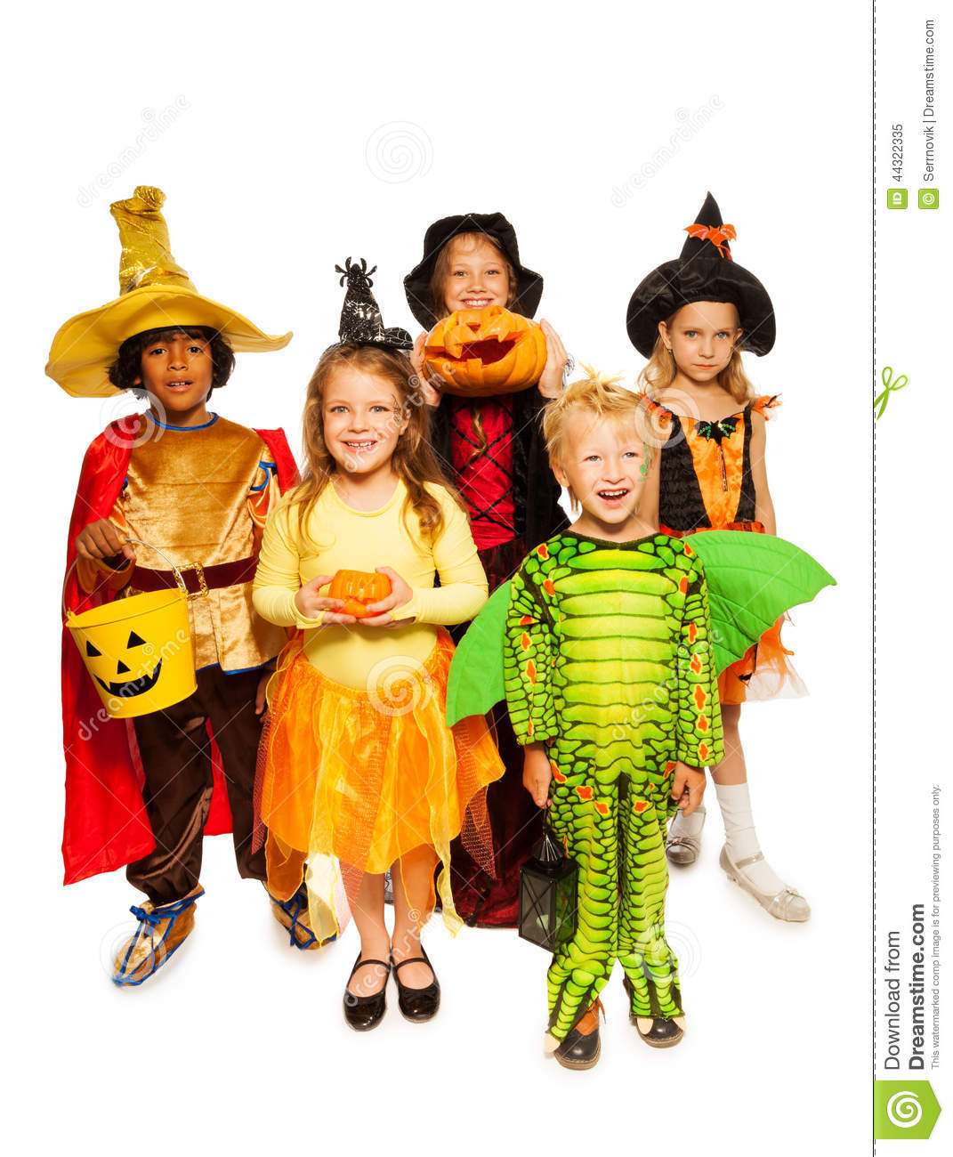 download kids with pumpkin and in halloween costumes stock image image of halloween caucasian