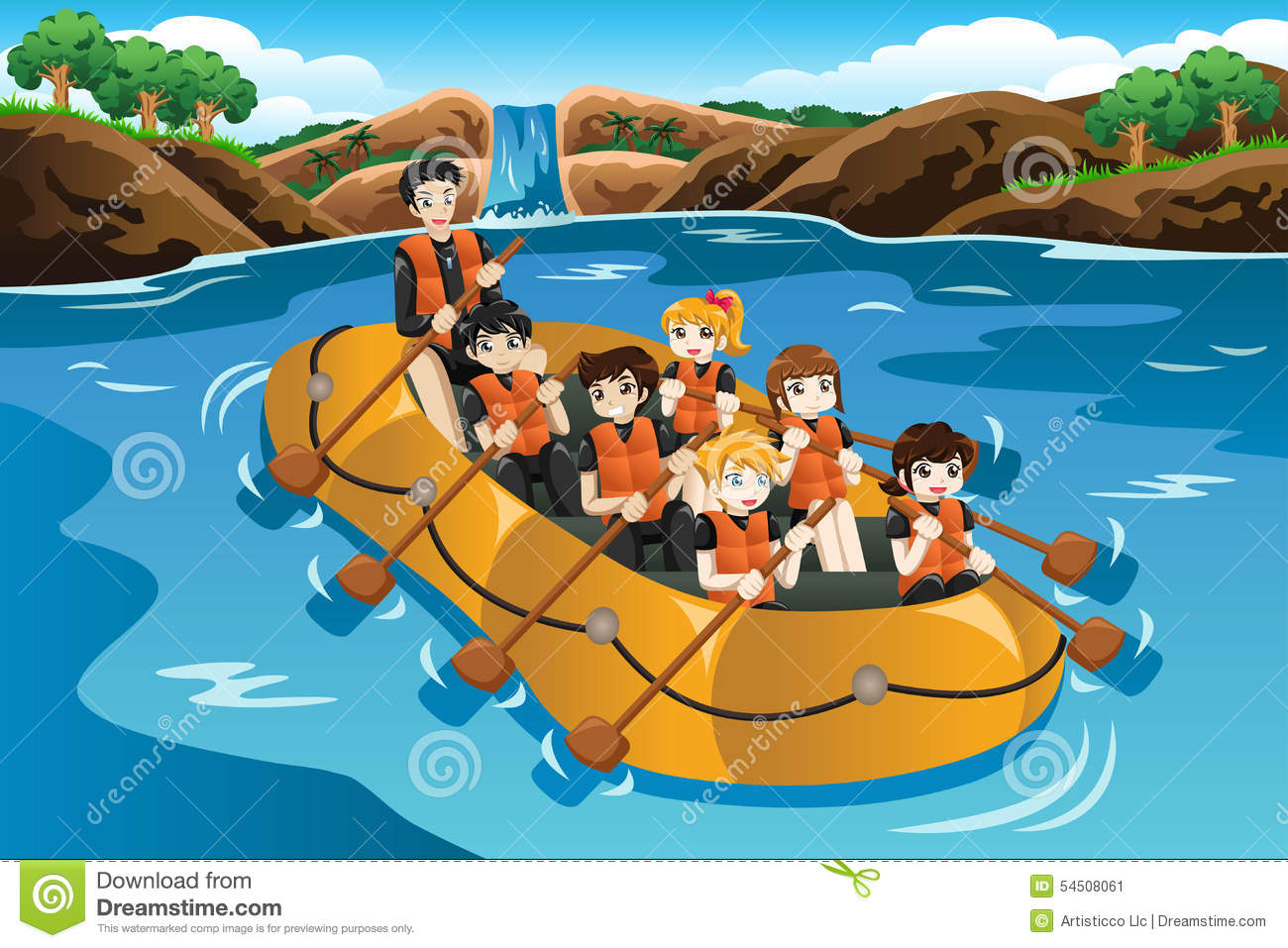 Kids Rafting In A River Stock Vector Image 54508061