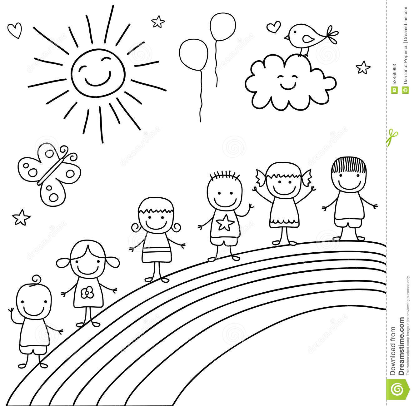 Kids On Rainbow Stock Vector Image 53459993