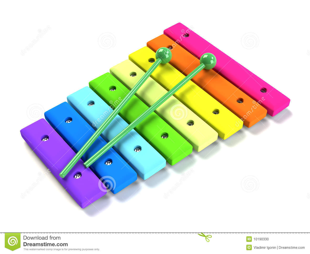 Kids rainbow wooden xylophone stock illustration image