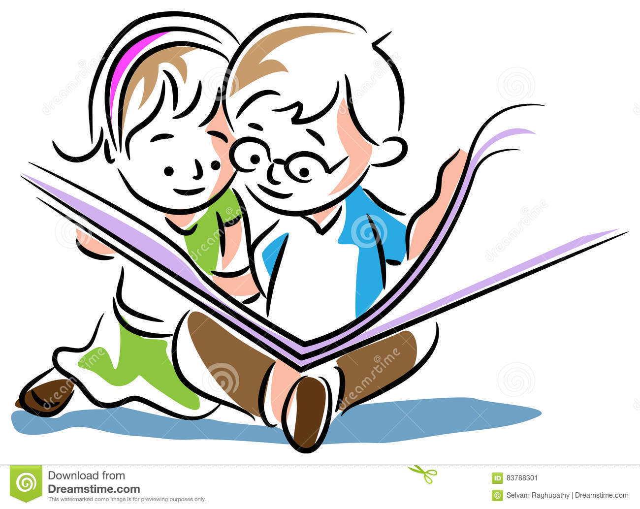 Kids Reading A Book Stock Vector Illustration Of Artistic