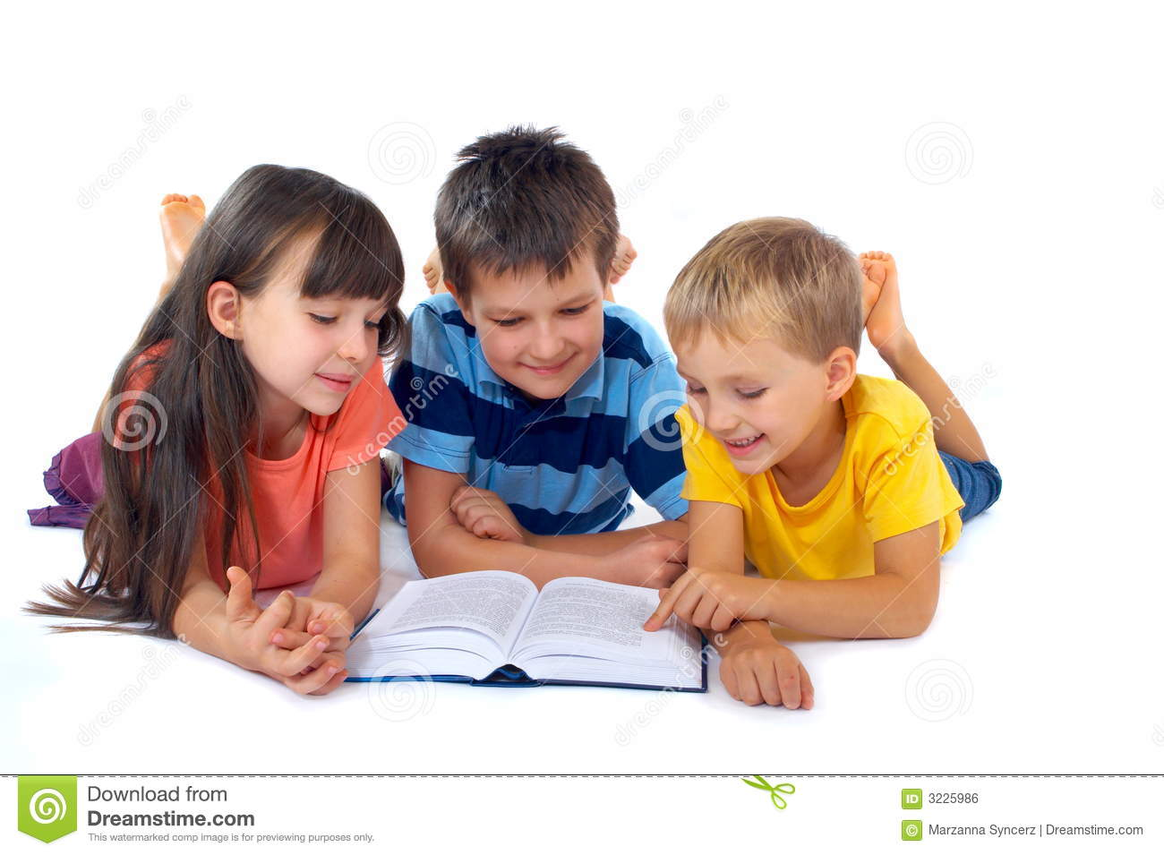 Kids Reading Book Together Stock Photo Image Of Girl 3225986