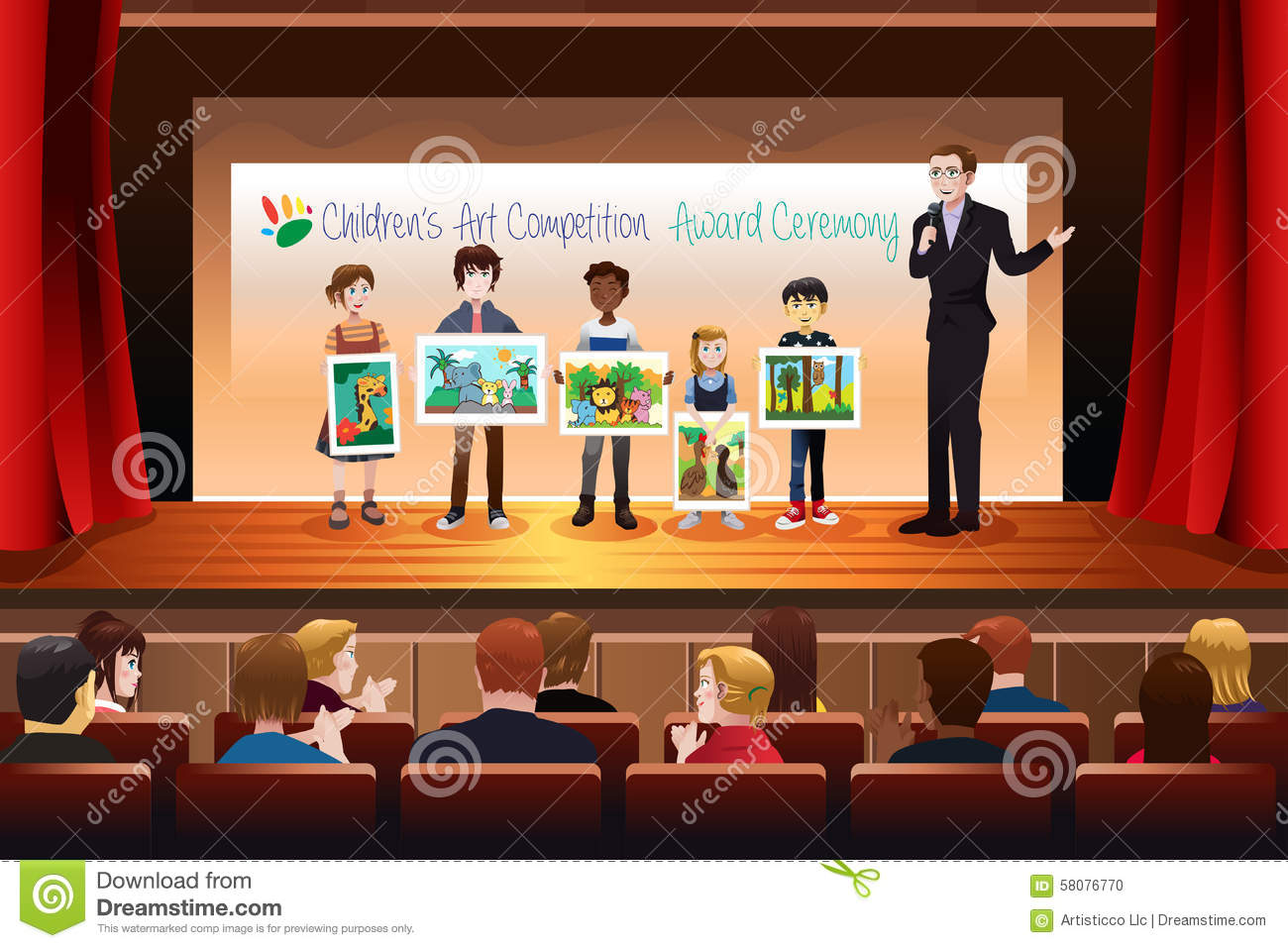 kids receiving award in art competition stock vector