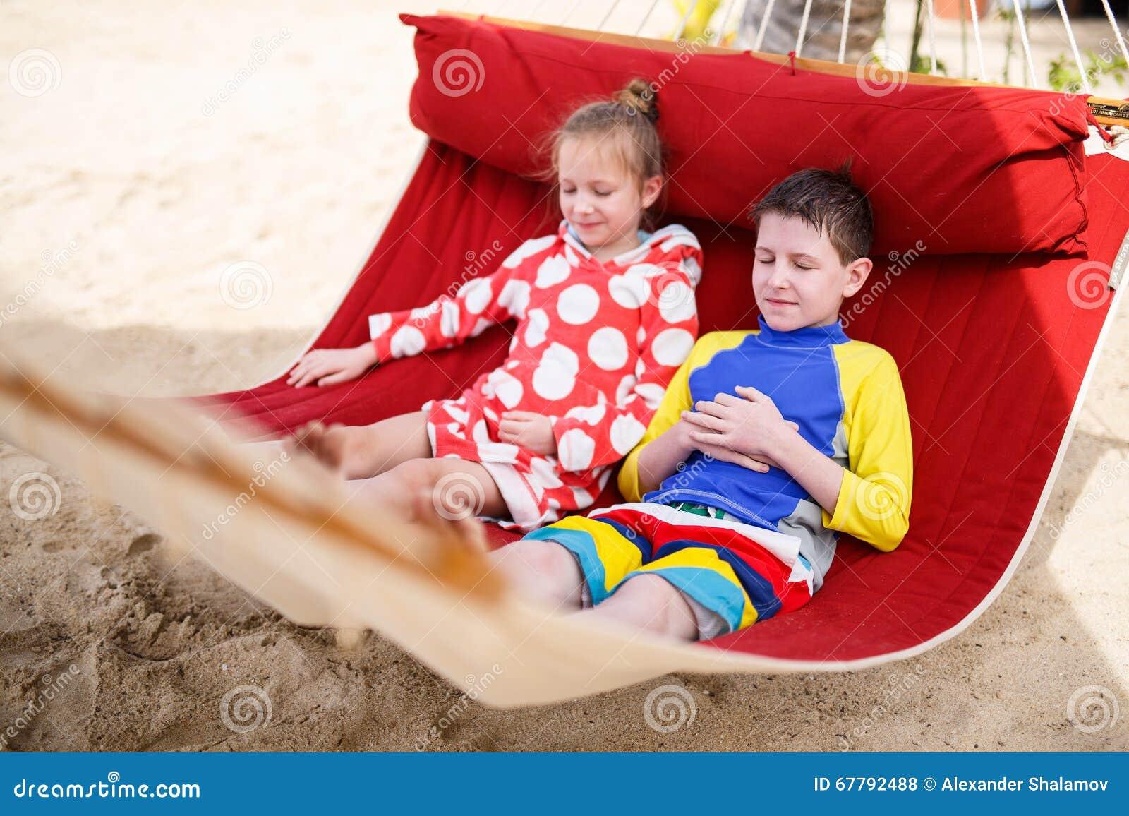 Kids Relaxing In Hammock Stock Photo Image 67792488