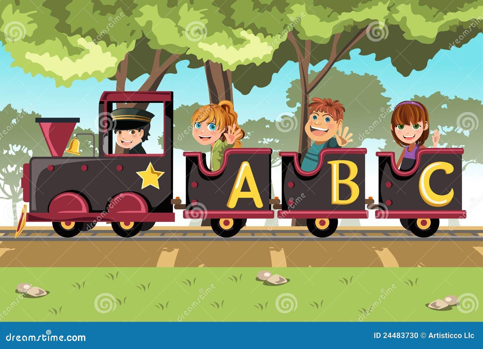Alphabet train coloring - Kids Riding Alphabet Train Stock Photo